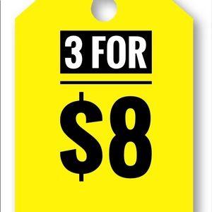 3 FOR $8 BUNDLE SALE